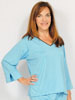 Three Quarter Sleeve Turquoise with Chocolate Trim