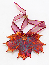 Maple Lace Leaf Ornament Iridescent Copper Finish