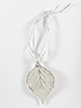 Birch Lace Leaf Ornament - Silver Finish