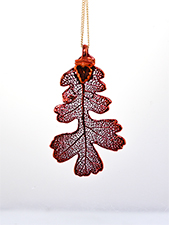 Oak Lace Leaf Necklace - Iridescent Copper Finish