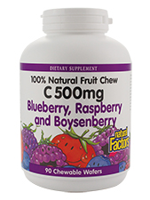 100% Natural Fruit Chew C 500 mg Blueberry, Raspberry, and Boysenberry