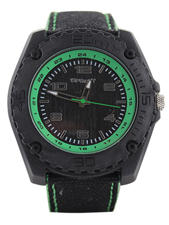 Black & Green Face with Black Cloth Wristband
