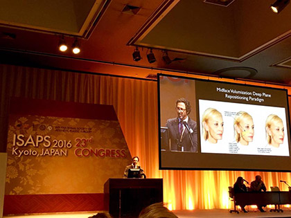 Dr Jacono lectures on the deep plane facelift at the International Society of Aesthtic Plastic Surgery in Kyoto Japan