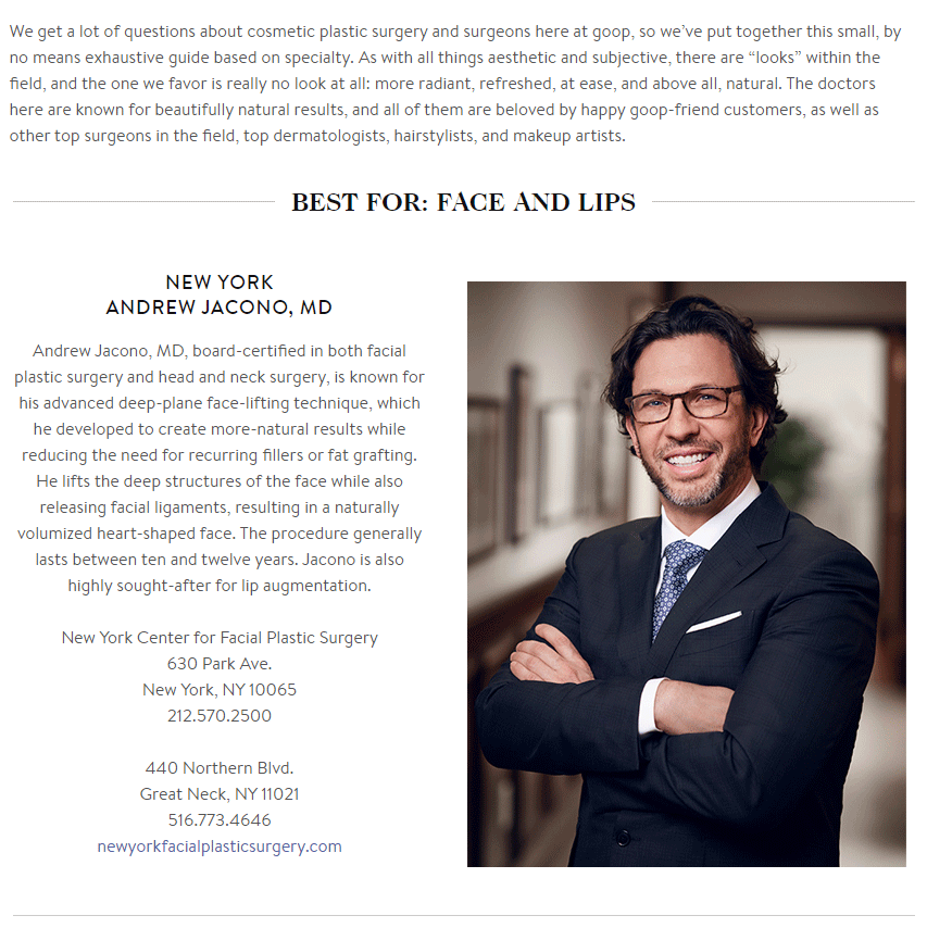 Goop Names Dr. Jacono Best Face and Lip Surgeon