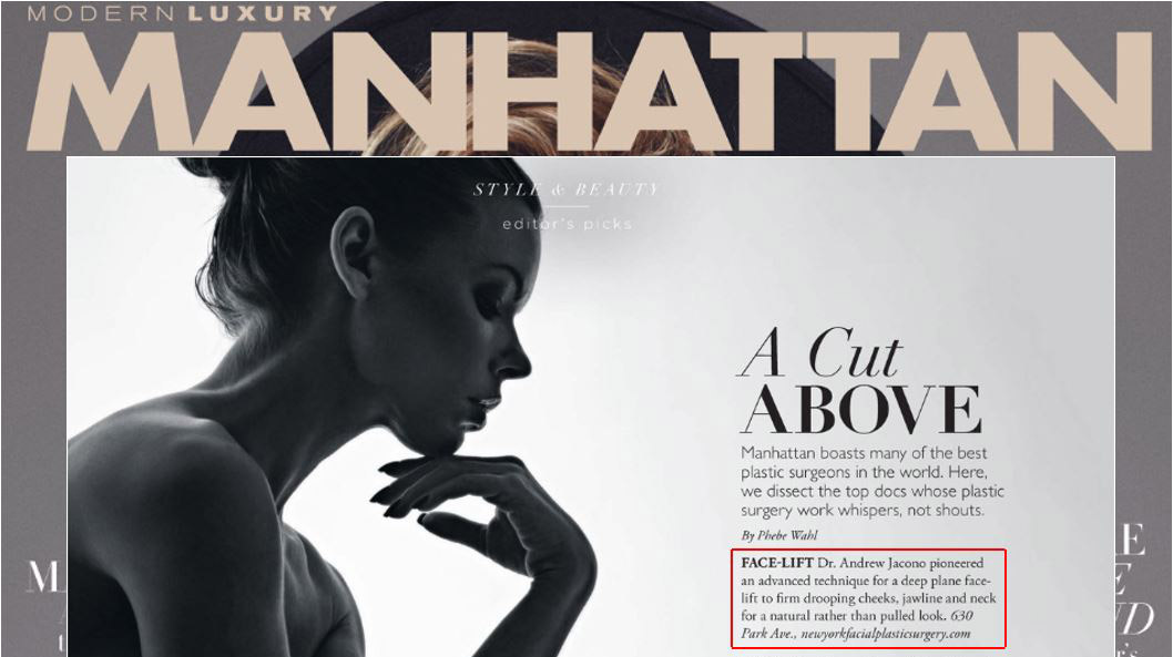 manhattan magazine top facial plastic surgeon ny