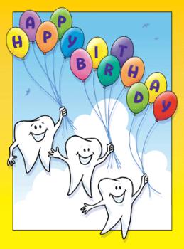 Floating Molar Birthday Greeting Card