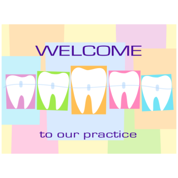Pastel Checkered Teeth with Braces Welcome Greeting Card