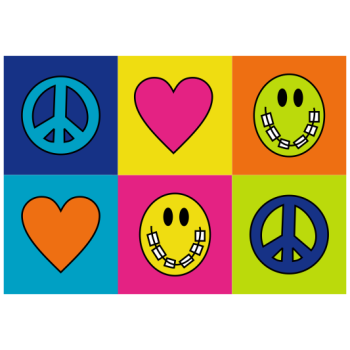 Peace-Love-Braces Checkered Welcome Greeting Card