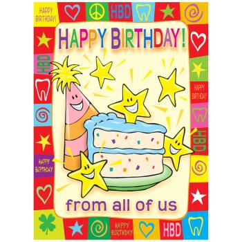 Cake and Stars Birthday Postcard