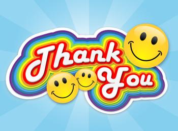 Retro Rainbow Thank You Greeting Card