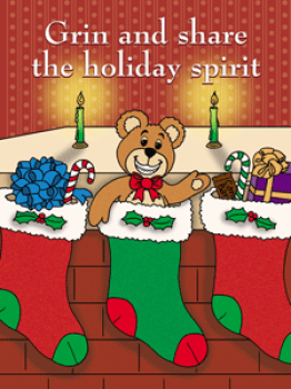 Bear in Stocking Holiday Postcard