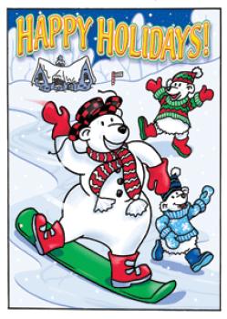 Snowboarding Polar Bears Holiday Postcard