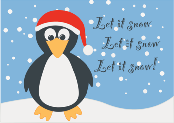 Let It Snow Penguin Holiday Greeting Card