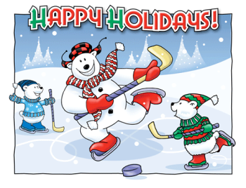 Holiday Hockey Postcard