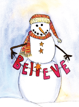 Believe Snowman Holiday Postcard