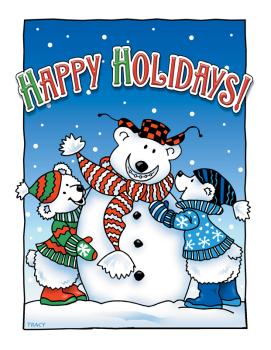 Happy Holidays Bears Postcard