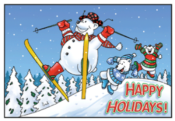 Happy Holidays Skiing Polar Bear Postcard