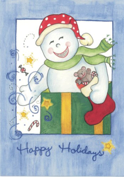 Pastel Snowman Holiday Greeting Card