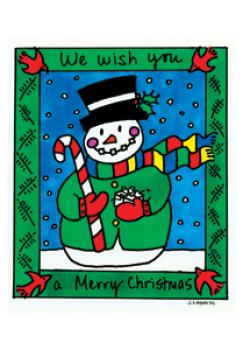 Merry Christmas Snowman Holiday Postcard