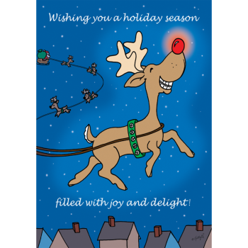 Reindeer with Red Nose Holiday Greeting Card
