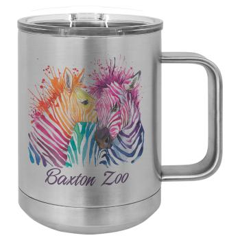 Sublimated 15oz Stainless Mug with Handle