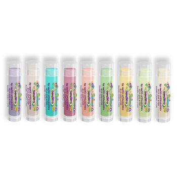 Colorful Lip Balm with Smile Flower Design
