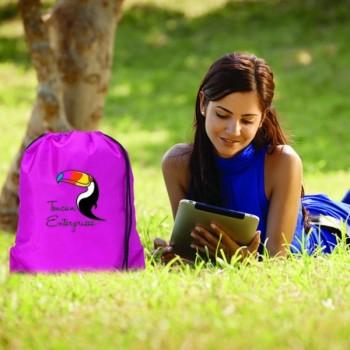 Nylon Drawstring Backpack - Full Color Imprint