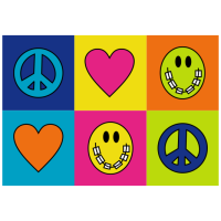 Peace-Love-Braces Checkered Thank You Greeting Card