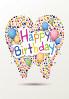 Tooth Balloons Happy Birthday Greeting Card