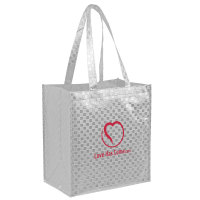Reuseable Metallic Checkerboard Tote Bag - 12 x 8 x 13