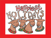 Four Smiling Reindeer Holiday Greeting Card