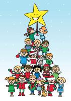 Christmas Tree of Kids Holiday Greeting Card