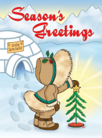 Eskimo Christmas Tree Holiday Postcard