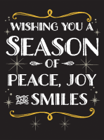 Season of Peace Joy & Smiles Holiday Greeting Card