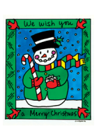 Merry Christmas Snowman Holiday Postcard