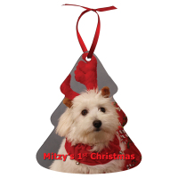 "Sublimated 3.95"" x 3.38"" Tree Aluminum Ornament"