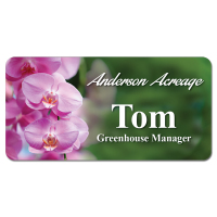 "Sublimated 1.5"" x 3"" Plastic Name Badge with Magnetic Back"