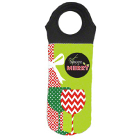 Sublimated Neoprene Wine Tote with Black Handle