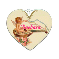 "Sublimated 3"" Heart Shaped Porcelain Ornament"