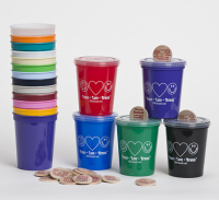 Wooden Nickel Coin Bank - Colored Cup