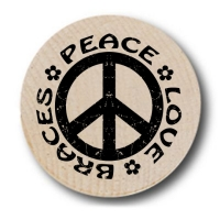 Peace Sign Love Braces Wooden Nickels