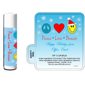 All Natural Lip Balm with Peace-Love-Braces Holiday Design