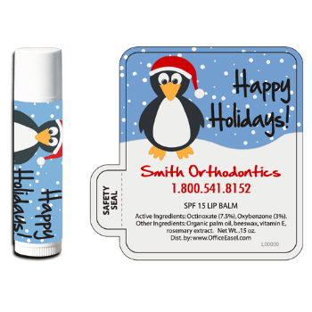 All Natural Lip Balm with Holiday Penguin