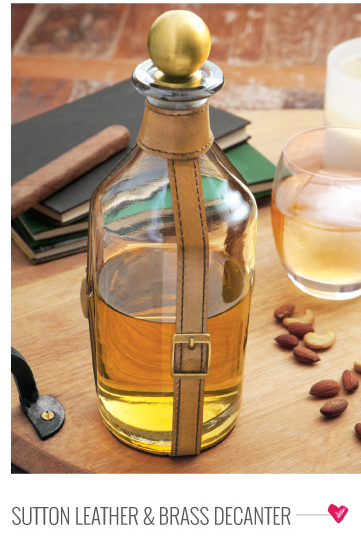 Sutton Leather & Brass Decanter