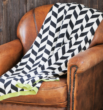 Navy Chevron Knit Throw