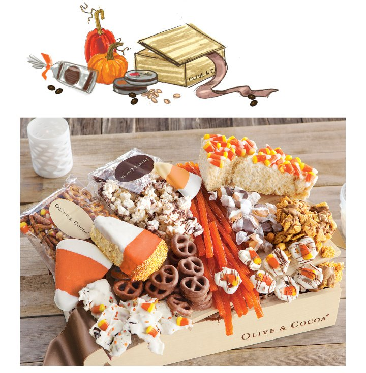 An image of Olive & Cocoas candy corn & treats halloween crate with classic halloween sweets.