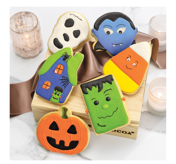 An image of Olive & Cocoa's cute halloween cookies and treats.