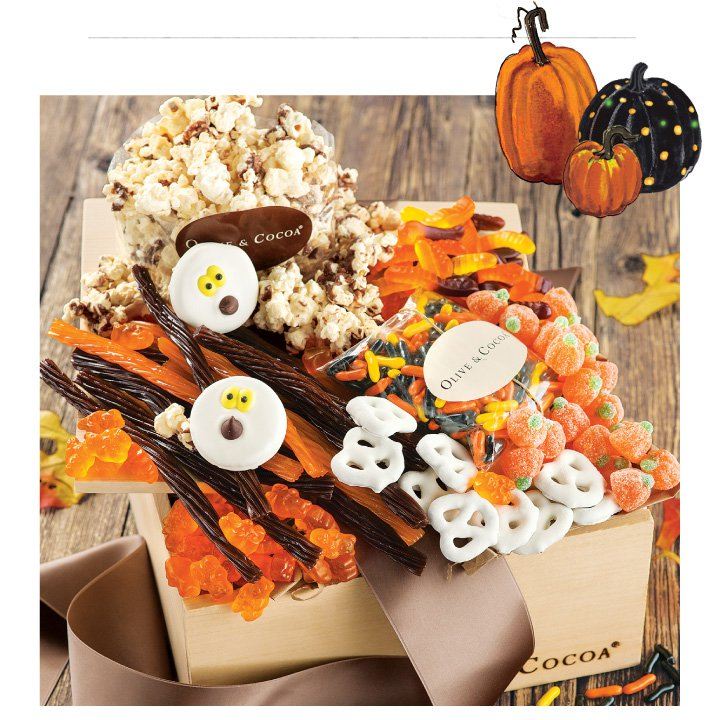 An image of Olive & Cocoas boolicious halloween candy basket filled with various halloween treats.