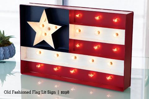 Old Fashioned Flag Lit Sign