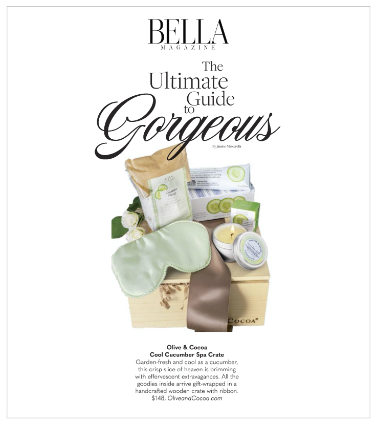 BELLA Magazine highlighted our Cool Cucumber Spa Crate in their article 10 Spectacular Stocking Stuffers.
